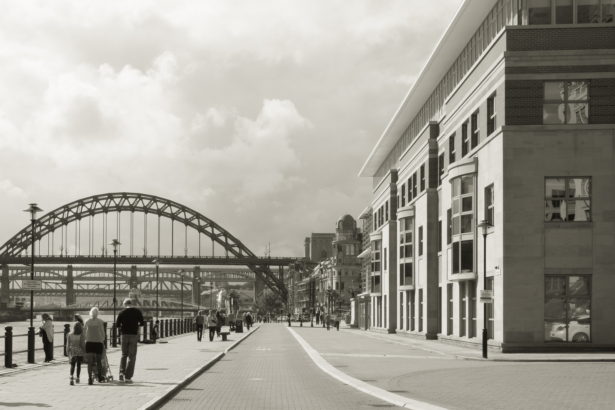 This view looks down the quayside toward the Tyne Bridge, from just opposite the new Millenium Bridge.
