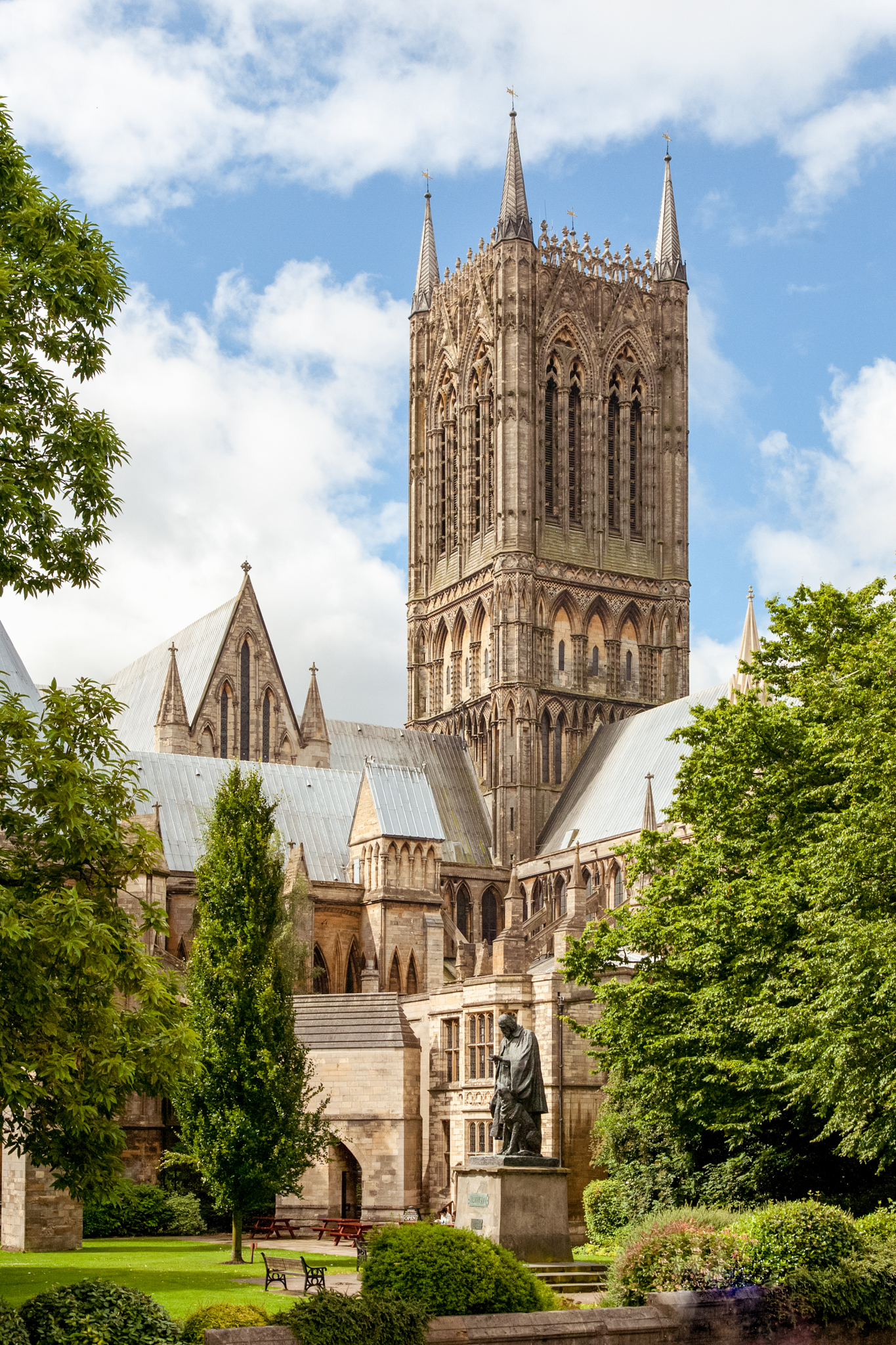 This is a view of one of the main towers of Lincoln cathedral.