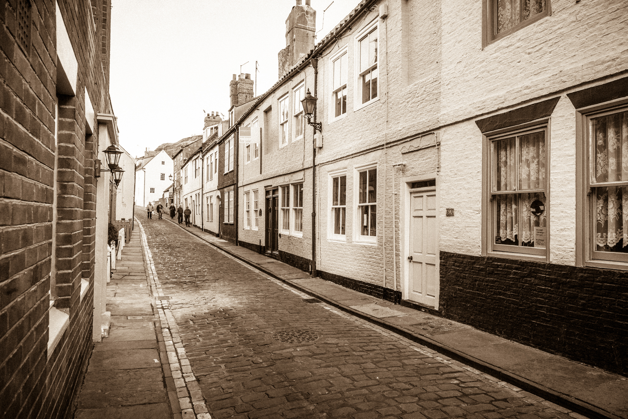 This traditional street in Whitby, north Yorkshire, leads visitors to the old kipper smoke house which has been in constant operation for generations. The smell as you walk this street is mouth watering.