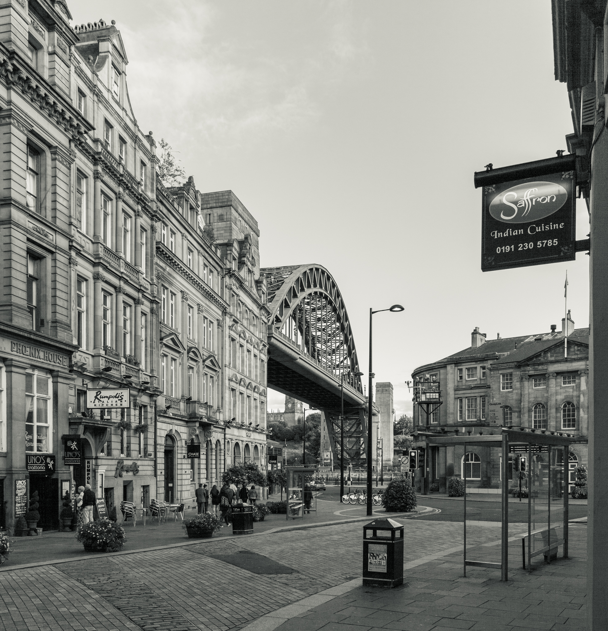 From the bottom of the Side, you can get a view of the Tyne bridge and St Mary's church on the hill in the distance.